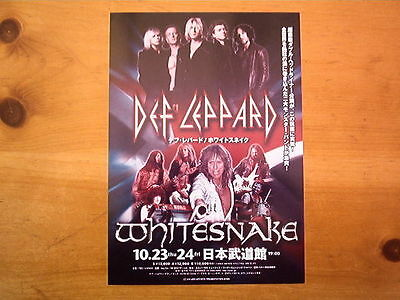 DEF LEPPARD / WHITESNAKE  2008 Tour Japanese Flyer / mini Poster 10x7 inches