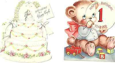 4 Different Used Vintage Greeting Cards from the early 1950's