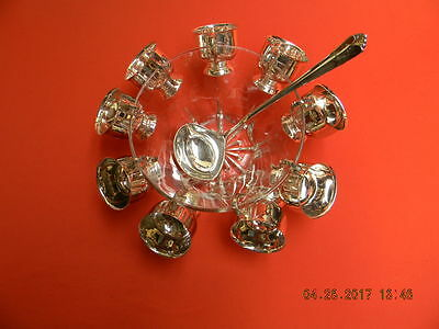 Crystal Punch Bowl with 9 Silver plated cups