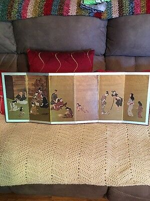 Vintage Japanese Byobu Of Samurai Family