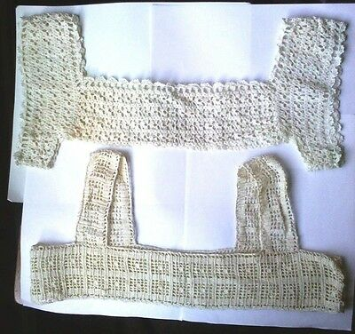 2 Antique Vintage Crocheted Lace Yokes for camisoles, nightgowns
