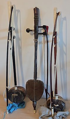 Set of 3 Khmer fiddles from Cambodia (Tror-ou and Tror-Khmer)