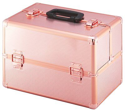 Large Rose Gold Colour Aluminium Vanity Case Lockable Catch To Keep All Favurite