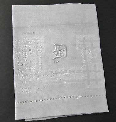 Antique Nubby Linen Towel D Monogram Morning Glory Florals Hemstitched