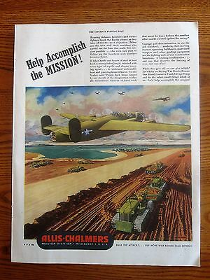 B-24 Liberator Flys Over Allis-Chalmers Bull Dozers WWII AD