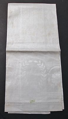 Antique Linen Damask Towel Unused Czech Label Floral Pattern Hemstitched