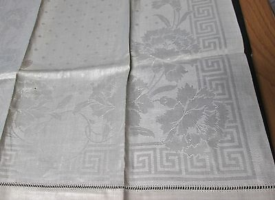 Antique Large Linen Damask Towel Carnations Greek Key Made in Germany Never Used