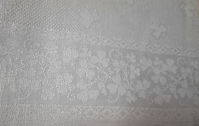 Antique Linen Damask Fringed Bath Towel Shamrock Millmarks Silky Fabric