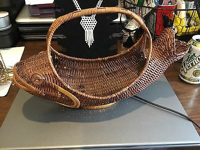 Woven Wicker Basket With Handle, Shaped as a Fish, Vintage?, Unique, Unusual