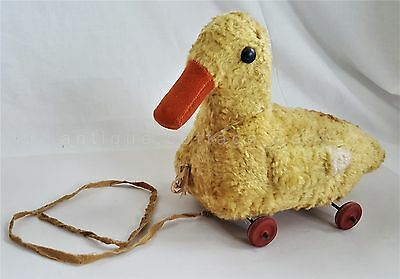 antique STUFFED DUCK PULL TOY wood wheels MOHAIR GLASS EYES