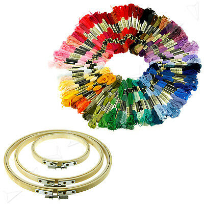 100pcs Embroidery Thread Cross Stitch Floss And 3pcs Round Bamboo Hoops/Rings