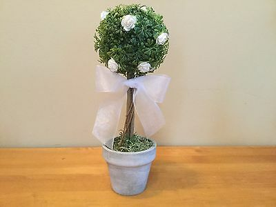 12 Topiary~Wedding Decor, Table Centerpiece, Shower, Reception~Flowers&Tule Bow