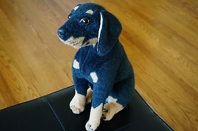 """PLUSH Decor Toy DOG Wired 16"""" Rottweiler Puppy Stuffed Animal Realistic Sit UP"""