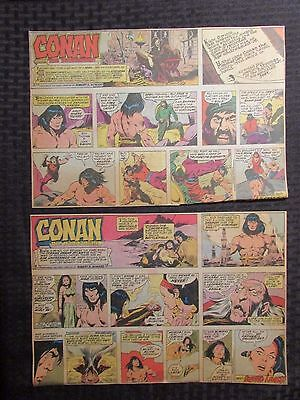 1978 CONAN THE BARBARIAN Color Sunday Newspaper Strips LOT of 12 VG+/FN+ Buscema