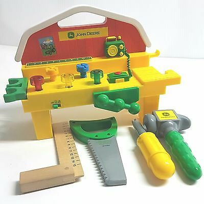 JOHN DEERE 4 piece Child's Musical Workshop and Tool Set and Wooden Square