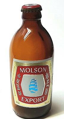 "Molson Export  Stubby (6.5"") Beer Bottle with Cap - Canada - Vintage Collectible"