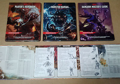 D&D Dungeons and Dragons Hardcover 3 Books Player Handbook Monster Manual 5th Ed