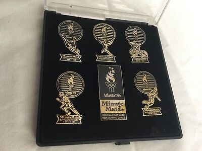 New set of 6 Atlanta 1996 Olympic Minute Maid (Coca-Cola) Pins