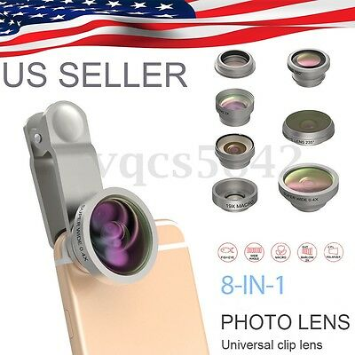 8 In 1 Cell Phone Camera Lens Kit Clip On Smartphone Lens Front Back Mount