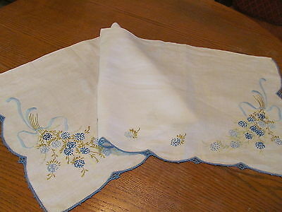 Vintage Dresser Scarf-Floral Hand Embroidered-Ribbons-French Knots-Crochet Edge