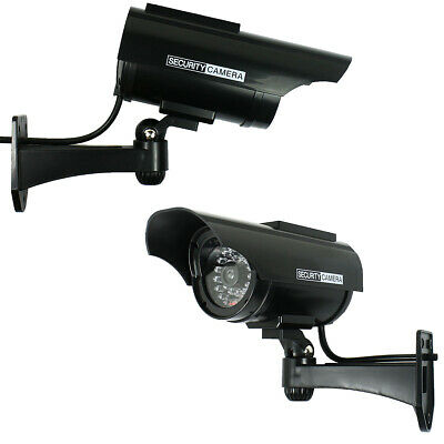 Pack of 2 Solar Powered Dummy Security Camera CCTV with LED Record Light - Black