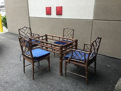 Vintage 4 Chinese Chippendale Chairs With Matching Table