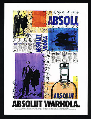 1992 Absolut Warhola Vodka Paul Warhola Art Vintage Print Ad