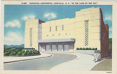 """Municipal Auditorium, Asheville, N.C. """"In the Land of the Sky"""" 1947 Asheville PC"""