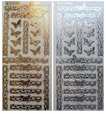 Embossed BUTTERFLY BORDERS Peel Off Stickers Gold or Silver on Clear Background