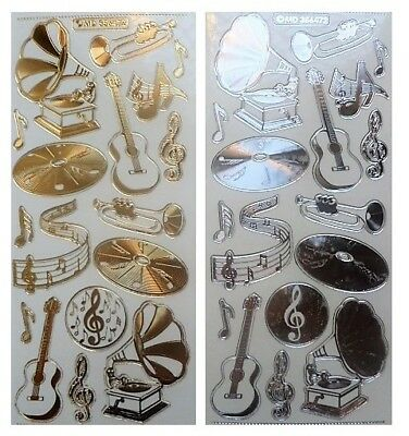 Embossed MUSIC Peel Off Stickers Record Guitar Notes Gold or Silver on Clear