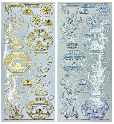 Embossed ORIENTAL VASE Peel Off Stickers Flowers Gold or Silver on Clear
