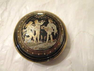 Hand Made Porcelain Greek Trinket Box Trimmed In 14 K Gold