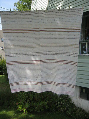 """VINTAGE BLANKET RAG WOVEN CATALOGNE cotton material 72.5"""" x 83.25""""inches"""