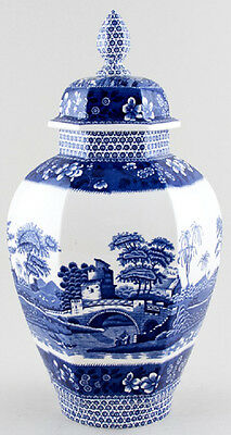 "SPODE BLUE TOWER  Large Hexagon Vase & Cover 15.75"" Tall Pictorial Beauty"