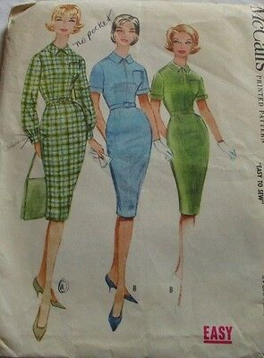Vintage McCall's 1960's Pattern 5470 Misses' Dress with Slim Skirt Size 14 B34