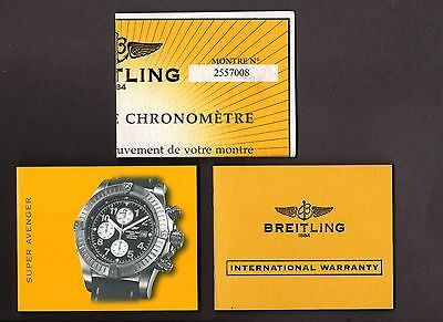 Genuine Breitling Super Avenger Cosc Certificate With Matching Booklet & Papers