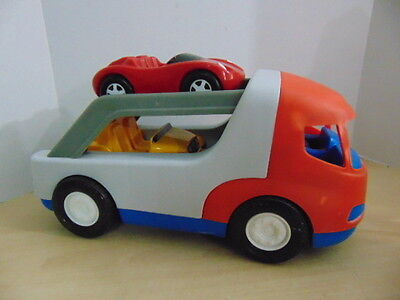 """Little Tikes Vintage Semi Truck Car Hauler Carrier With Both Cars 18"""" RARE"""