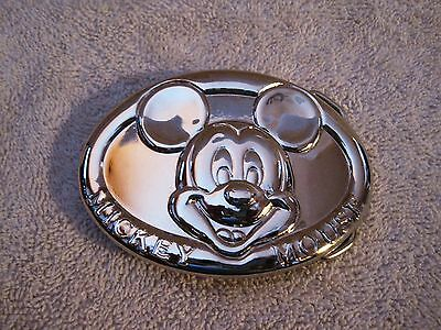 Rare - Beautiful - Disney - Silver - Mickey Mouse Head - Belt Buckle  Great Gift