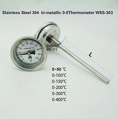 Stainless Steel bi-metallic Thermometer 0-50~300 degrees L=100, 1/4PT WSS303