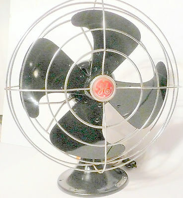 "working Mid Century 12""  blade GE OSCILLATING 3-SPEED FAN - Restored & NEW PAINT"