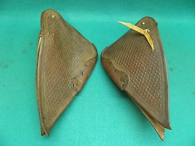 Nice Vintage  Used  Pair Of  Leather Tapaderos Stirrups