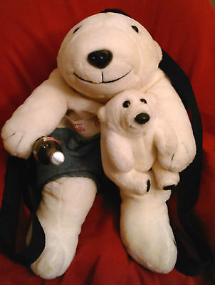 "1997 Coca Cola 16"" Polar Bear hold 9"" Bear Cub Purse Knapsack Backpack"