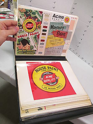 ACME house paint 1954 salesman book can labels,poster,brochure,store display