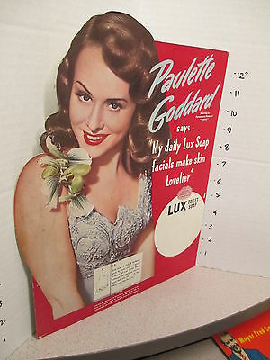Paulette Goddard Mrs Charlie Chaplin 1945 Lux soap store display pinup girl