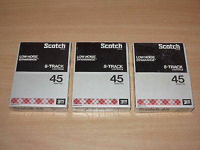 3 X SCOTCH 8-TRACK Dynarange Low Noise 45 Cartridge Tape 8-spur Sealed