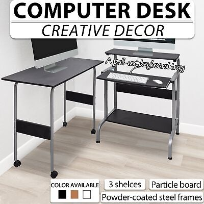 Black/Brown/White Office Computer Desk Writing Table Workstation Adjustable