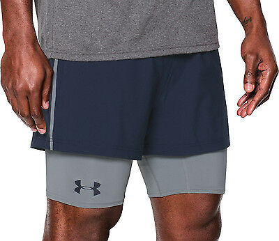 Under Armour Mirage 2 in 1 Mens Running Shorts - Navy