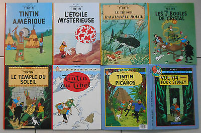 Lot de 8 BD Tintin dont 1 double-tome