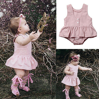 Newborn Toddler Baby Girl Infant Pink Clothes Lace Floral Romper Bodysuit Outfit