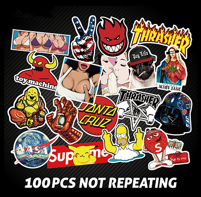 100 Pcs Stickers Skateboard Sticker Graffiti Laptop Luggage Car Decals mix lot